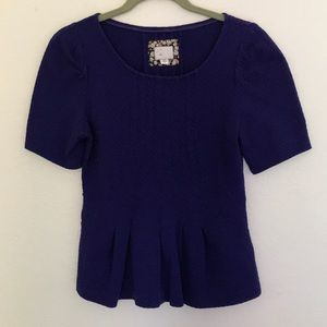 Postmark by Anthropologie textured peplum blue top